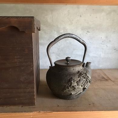 金寿堂 象嵌時代鉄瓶